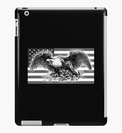 VINTAGE, cool,  War Eagle, USA, Flag, America, American, Black and White iPad Case/Skin