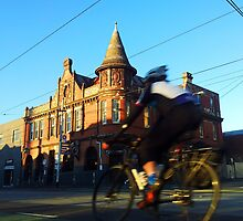 Perseverance Hotel and Cyclist (Fitzroy, Melbourne) by jezkemp