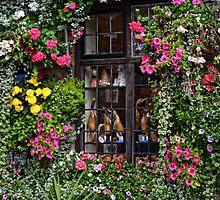 Floral Framed Window by lynn carter