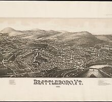 Vintage Pictorial Map of Brattleboro VT (1886) by BravuraMedia