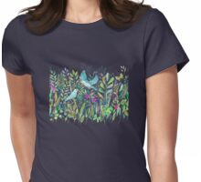Little Garden Birds in Watercolor Womens Fitted T-Shirt