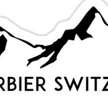 Skiing VERBIER SWITZERLAND SWISS ALPS Ski Snowboard Mountain Silhouette Skis Sticker