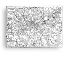Vintage Map of London England (1911) Canvas Print