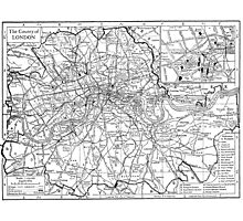 Vintage Map of London England (1911) Photographic Print