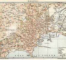 Vintage Map of Naples Italy (1897) by BravuraMedia
