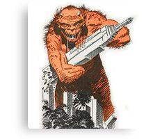 A monster destroying a city vintage comic pop art Canvas Print