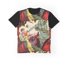 A creature attacking a couple vintage comic book pop art Graphic T-Shirt