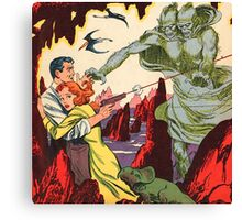 A creature attacking a couple vintage comic book pop art Canvas Print