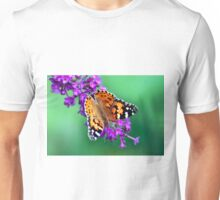 colorful butterfly on violet flower Unisex T-Shirt