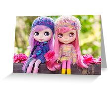 Blythe close-up portrait with spring flowers Greeting Card