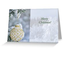 White Christmas bulb in snow Greeting Card