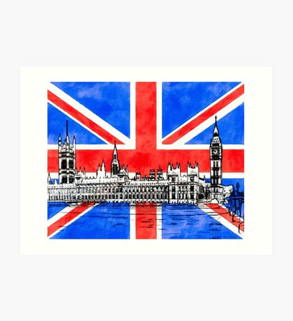 Oh So British - Union Jack Flag And Westminster Art Print