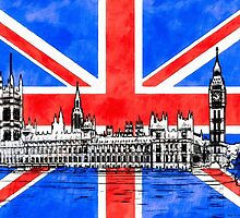 Oh So British - Union Jack Flag And Westminster by Mark Tisdale