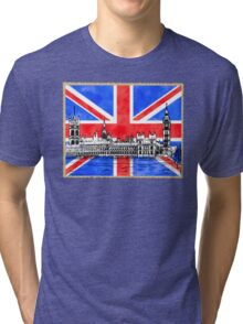 Oh So British - Union Jack Flag And Westminster Tri-blend T-Shirt