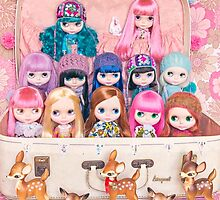 Blythes in a vintage suitcase with some bambi friends by Zoe Power