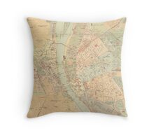 Vintage Map of Budapest Hungary (1884) Throw Pillow
