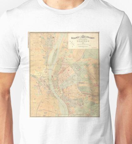 Vintage Map of Budapest Hungary (1884) Unisex T-Shirt