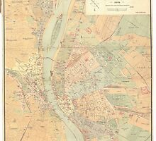 Vintage Map of Budapest Hungary (1884) by BravuraMedia