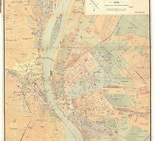Vintage Map of Budapest Hungary (1884) by BravuraMedia