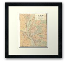 Vintage Map of Budapest Hungary (1884) Framed Print
