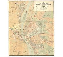Vintage Map of Budapest Hungary (1884) Photographic Print