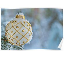 White Christmas bulb in snow Poster