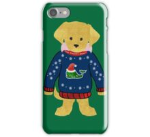 Yellow Lab Puppy Preppy Whale Christmas Sweater iPhone Case/Skin