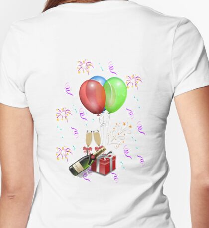 Party, Presents, Fun, Baby, Champagne, Showers, Anniversary, Celebrate, Celebration, Womens Fitted T-Shirt