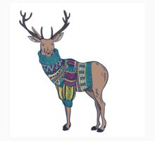 Deer in knitted sweater One Piece - Short Sleeve