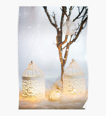 White Christmas card. Decoration with lanterns. Poster