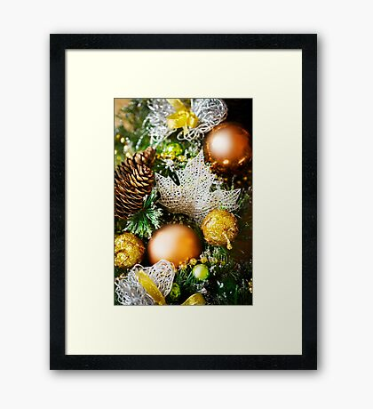 Christmas background with bright decoration Framed Print