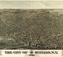 Vintage Pictorial Map of Buffalo New York (1880) by BravuraMedia