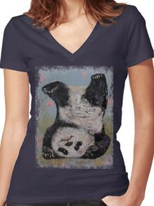 Panda Headstand Women's Fitted V-Neck T-Shirt