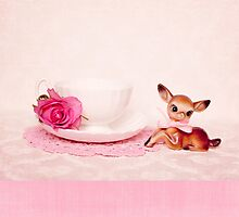 Vintage bambi with pink linen  by Zoe Power