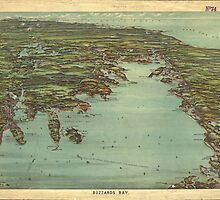 Vintage Pictorial Map of Buzzards Bay (1907) by BravuraMedia