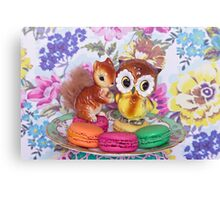 The owl and the squirrel ~ landscape version Canvas Print