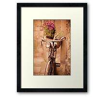 Flower bicycle @ The Vaults Cafe, Oxford Framed Print