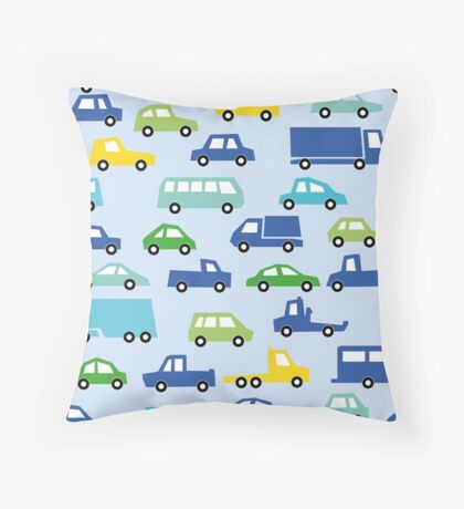 blue toy car pattern - automobile illustration Throw Pillow
