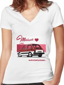 Maluch 126 motorized poland Women's Fitted V-Neck T-Shirt