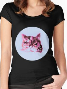 Colorful watercolor of cat Women's Fitted Scoop T-Shirt
