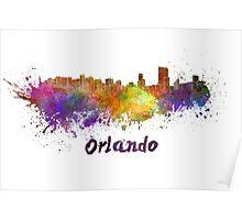 Orlando skyline in watercolor Poster