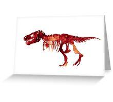 Trex Watercolor Painting Tyrannosaurus Skeleton Poster Indominus Dinosaur Greeting Card