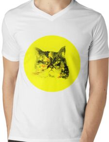 Colorful watercolor of cat Mens V-Neck T-Shirt