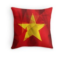Yellow star with red background low poly triangle flag Throw Pillow