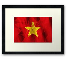 Yellow star with red background low poly triangle flag Framed Print