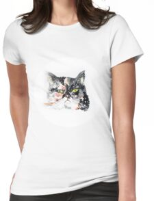 Colorful watercolor of cat Womens Fitted T-Shirt