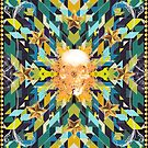 Triangles abstract tribal pattern with a skull by mikath