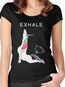 Exhale Yoga T-shirt Unicorn With Rainbow Women's Fitted Scoop T-Shirt