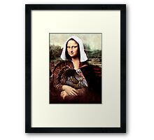 Mona Lisa Thanksgiving Pilgrim Framed Print