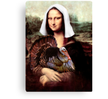 Mona Lisa Thanksgiving Pilgrim Canvas Print